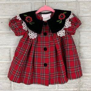 Vintage Bonnie Baby Dress Size 3-6 Months Red